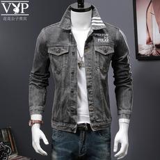 花花公子男士外套冬韩版潮流修身夹克外衣学生bf风牛仔外套男灰色