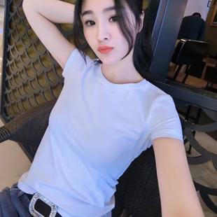 白色t恤女2018新款夏装韩版纯棉半袖百搭纯色修身简约短袖上衣潮