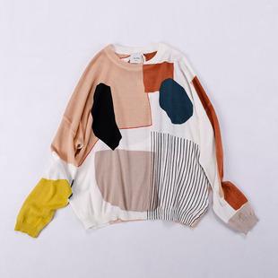 咖啡家欧美单 19春夏新款羊绒棉宽松休闲毛衣女 圆领印花针织衫