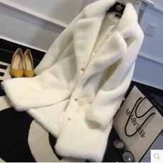 2017秋冬新款皮草外套女中长款韩版修身仿水貂绒毛毛大衣