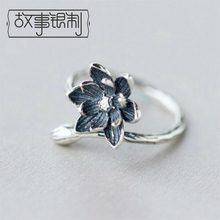 Story Silver Original Design S925 Silver Ring Fashion Individuality Lotus Ring Simple Sweet Opening Ring Girl