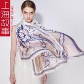 上海故事丝巾女士春秋夏季韩版百搭长款围巾杭州丝绸披肩薄款纱巾
