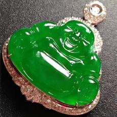 高端翡翠吊坠手镯项链男女款缅甸天然玉石玻璃种帝王绿弥勒佛收藏