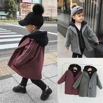 辰辰妈婴童装宝宝冬装假两件连帽呢子大衣潮儿童男童毛呢外套夹棉