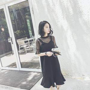 2017新款韩版黑色性感露肩雪纺连衣裙女夏显瘦漏肩网纱吊带裙裙子连衣裙