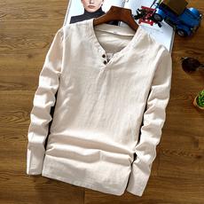 中国风男装秋季亚麻料T恤中式复古上衣纯棉麻布长袖纯色t桖小衫潮