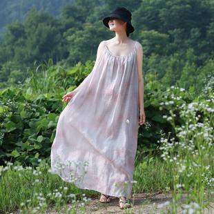 19夏季新款清涼超仙苧麻印花吊帶顯瘦連衣裙寬松孕婦裙棉麻長裙