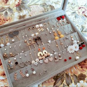 耳环首饰收纳盒饰品耳钉耳环收纳盒子耳坠耳线归纳整理珠宝箱带盖饰盖