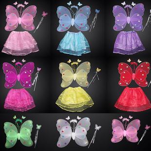 儿童万圣节装扮舞台演出道具女童天使蝴蝶翅膀四件套玩具演出服装