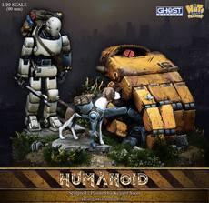 1/20 树脂情景 树脂场景 人型机器人与狗与基座 GK白模