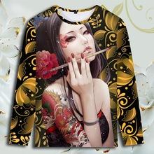 中国风男装T恤美女纹身图案复古港味潮印花社会精神小伙长袖衣服