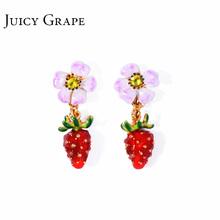Juicy Grape网红耳环2018新款长款气质花朵草莓耳坠少女心ins耳饰