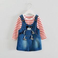 [包邮]韩版女童春季长袖t恤加牛仔背带裙套装