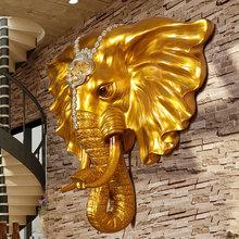 龙象大象头壁挂欧式墙壁挂件创意客厅玄关家居墙面背景墙动物壁饰