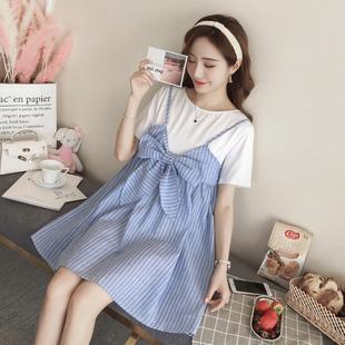 2018韩版孕妇夏装新款时尚吊带裙棉麻条纹拼接中长款孕妇连衣裙子