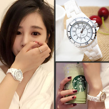 Ceramic female student watches leisure fashion simple white net red trend waterproof authentic quartz Korean version 2019