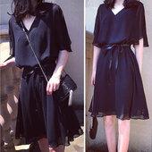 加大码女装胖mm2018夏装新款V领胖妹妹遮肚子显瘦雪纺连衣裙