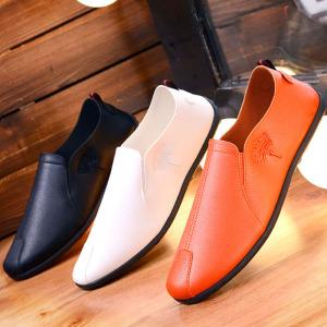 夏季豆豆鞋男士休闲鞋韩版潮流皮鞋透气小白潮鞋懒人一脚蹬男鞋子皮鞋