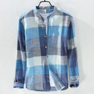 宽松文艺格子亚麻衬衫男长袖休闲薄款立领棉麻衬衣男潮流上衣夏季