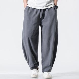 亚麻裤男宽松夏季长裤直筒哈伦裤休闲裤子灯笼裤中国风阔腿裤薄款