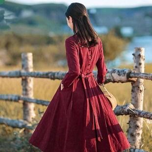 欧式红色棉麻改良旗袍连衣裙长袖秋装女2018新款中长款修身长裙子