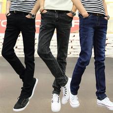 夏季韩版潮流雪花牛仔裤男修身型小脚夏天薄款青少年百搭显瘦男裤