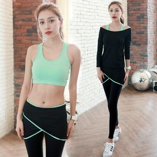 瑜伽服套装秋冬健身服女健身房瑜珈运动服跑步服显瘦三件套晨跑服