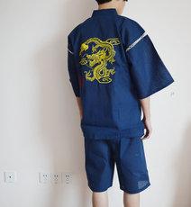 日本外贸纯棉男甚平浴衣和服日式家居服短袖睡衣套装和风刺绣金龙