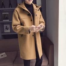 秋冬款毛呢大衣男中长款风衣韩版连帽上衣青少年休闲呢子男装外套