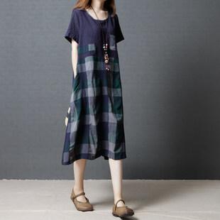 夏季新款韩版宽松大码女装中长款过膝短袖时尚格子拼接棉麻连衣裙
