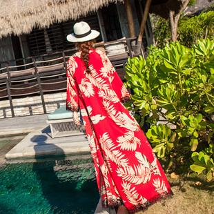 防晒衫女长款超仙过膝2018新款海边度假中长款宽松沙滩空调开衫