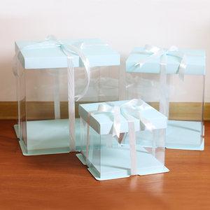 蓝色6/8/10/12寸生日蛋糕盒烘焙包装单双层加高芭比全透明蛋糕盒