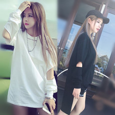 春夏女装新款2016韩版宽松中长款棒球服风镂空长袖纯色T恤女棉衫