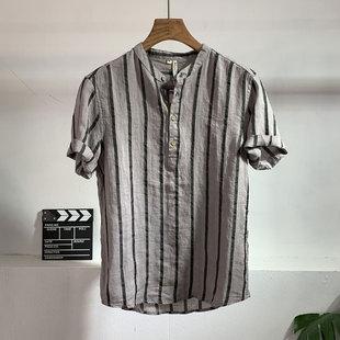 春夏季新款男士韩版潮流条纹短袖衬衫百搭时尚亚麻料修身衬衣男潮