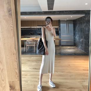 秋内搭吊带裙女2018新款V领长款修身显瘦针织背心裙冷淡风连衣裙