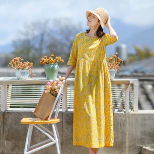 度假长裙夏装新款印花裙 长款高腰裙宽松袍子显瘦文艺棉麻连衣裙