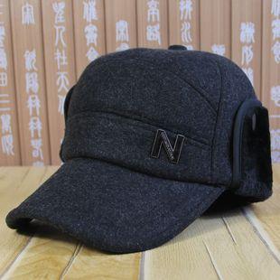 中老年帽子男冬天老人帽毛呢护耳帽老头帽冬季加厚保暖棒球帽棉帽