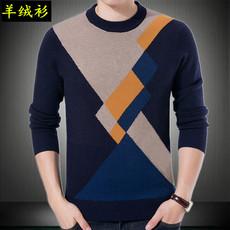 冬季羊绒衫男士套头圆领毛衣时尚都市羊毛衫毛衣中年长袖爸爸装男