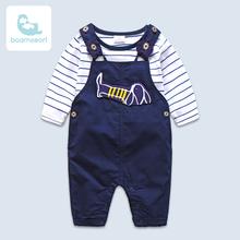 外出春秋款男宝宝纯棉背带裤套装衣服 婴儿童装0一1岁季春装服潮