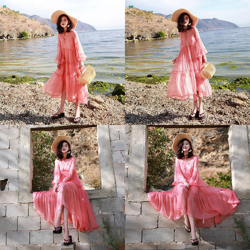 沙滩裙女夏2018新款大码宽松长袖雪纺长裙超仙海边度假显瘦连衣裙图片
