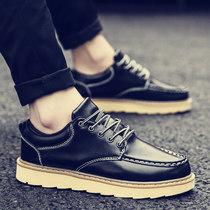 子厚底大头鞋 工装 冬季复古马丁鞋 男鞋 英伦休闲皮鞋 内增高潮鞋