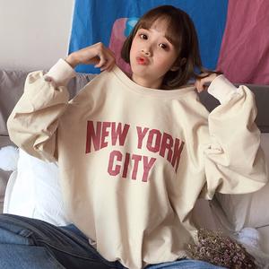 2018春装chic韩版新款女装学生印花卫衣时尚百搭宽松显瘦长袖上衣卫衣女