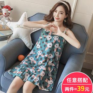 韩版学生睡衣女夏季甜美可爱吊带睡裙夏天纯棉中裙背心清新家居服
