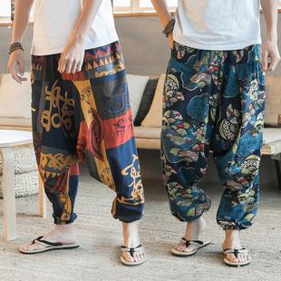 夏季潮流沙滩裤男宽松大码尼泊尔亚麻阔腿裤泰国大象花裤子灯笼裤