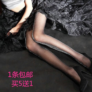 主播性感银丝闪光黑丝袜发光诱惑超薄丝袜情趣性感连裤袜开档女夏