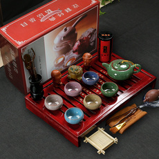 冰裂釉茶具套装功夫茶实木茶盘陶瓷茶海特价包邮整套组合家用礼品
