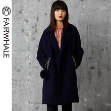 马克华菲女装冬装外套西装领小个子毛呢外套女中长款风衣