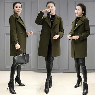 毛呢外套女中长款2016秋冬装新款军绿色韩版宽松显瘦呢子大衣外套