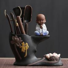 墨荷创意紫砂黑檀木茶道六君子套装 茶具配件组合功夫茶具组合茶盘