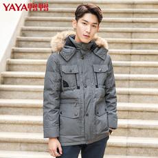2017冬季新款韩版外套潮男士加厚商务休闲中老年毛领羽绒服外套男
